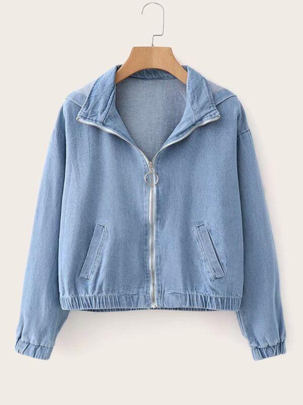 O-ring Zip Up Hooded Denim Jacket