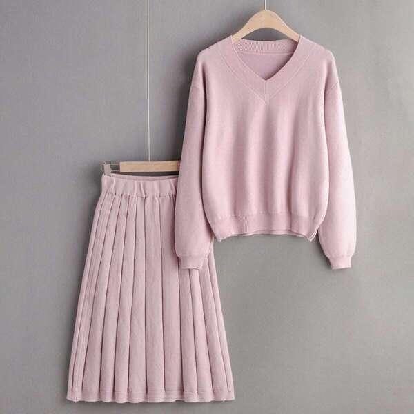 V-neck Drop Shoulder Sweater With Plisse Sweater Skirt