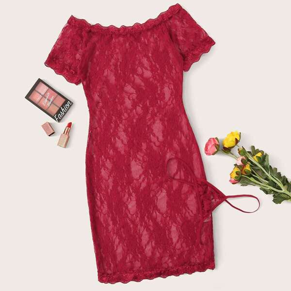 Floral Lace Bardot Dress With Thong, Burgundy