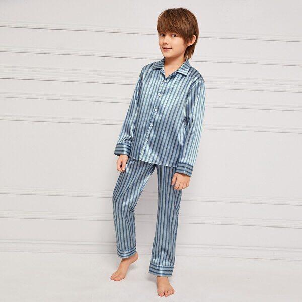Boys Striped Satin Shirt & Pants PJ Set