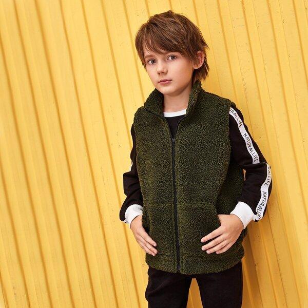 Boys Letter Tape Sleeve Mixed Media Teddy Jacket