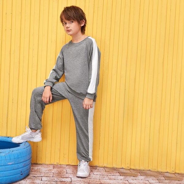 Boys Two Tone Raglan Sleeve Pullover & Sweatpants Set