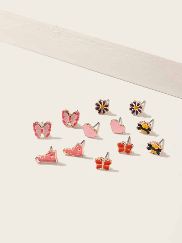 Toddler Girls Butterfly & Heart Design Stud Earrings 6pairs