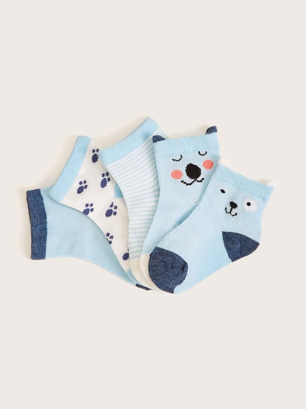 Toddler Boys Cartoon Pattern Socks 5pairs