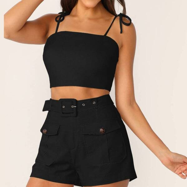 Knot Strap Cami Top & Buckle Belted Pocket Shorts Set