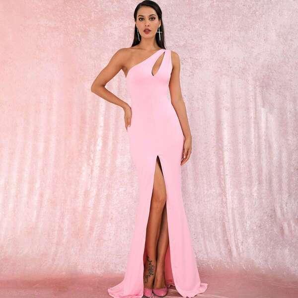 LOVE&LEMONADE One Shoulder Cut-out Split Thigh Maxi Dress, Pink pastel