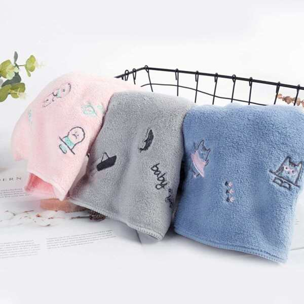 Cartoon Pattern Embroidered Towel 1pc
