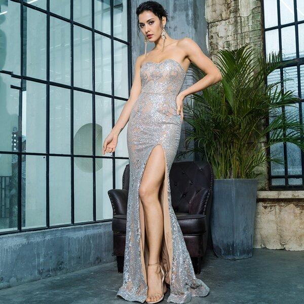 LOVE&LEMONADE Split Thigh Sequin Maxi Tube Dress, Grey