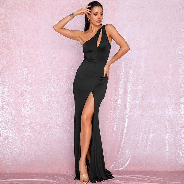 LOVE&LEMONADE One Shoulder Cut-out Split Thigh Maxi Dress, Black