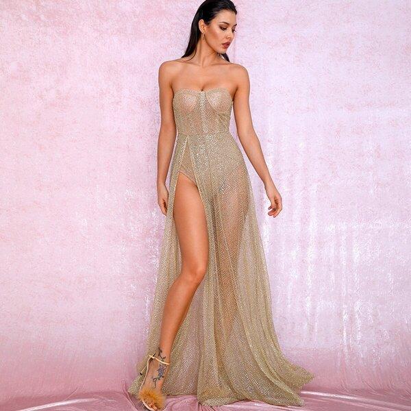 LOVE&LEMONADE Split Thigh Sequin Mesh Bustier Tube Dress, Gold