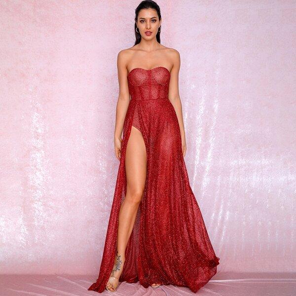 LOVE&LEMONADE Split Thigh Sequin Mesh Bustier Tube Dress, Red bright