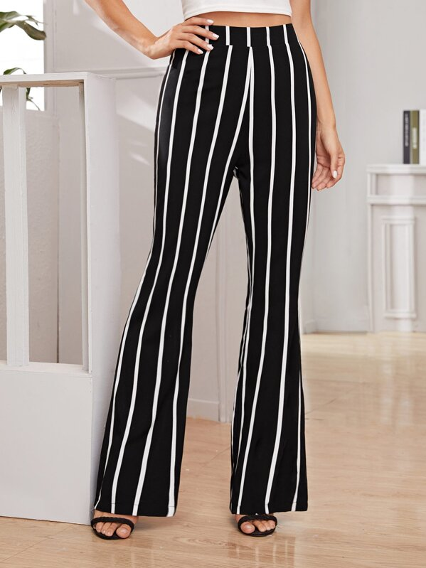 Striped Zipper Back Flare Leg Pants, Juliana
