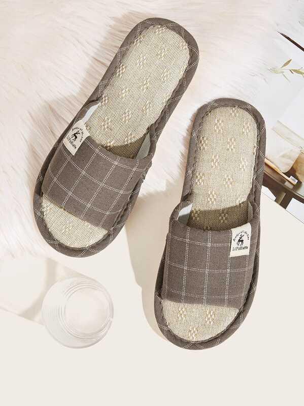 Men Open Toe Plaid Slippers