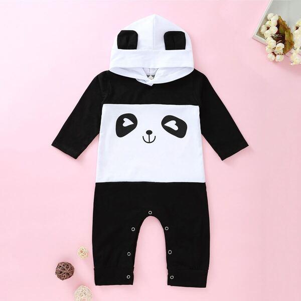 Baby Boy Panda Print Cut And Sew Hooded Romper
