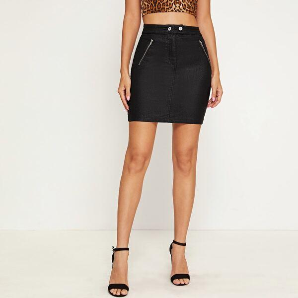 Coated Zip Detail Bodycon Denim Skirt, Black