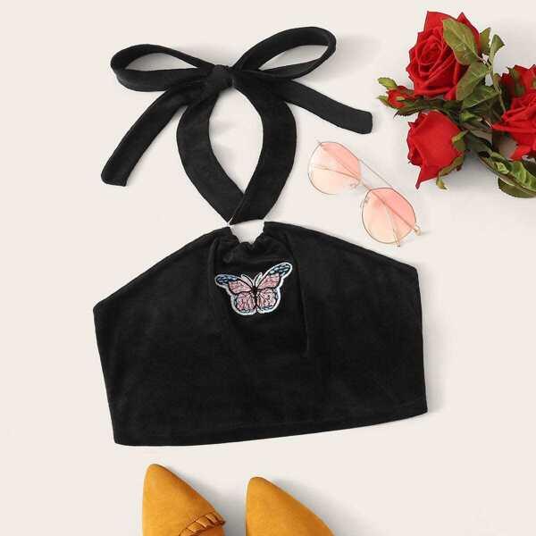 Butterfly Embroidered Velvet Halter Top