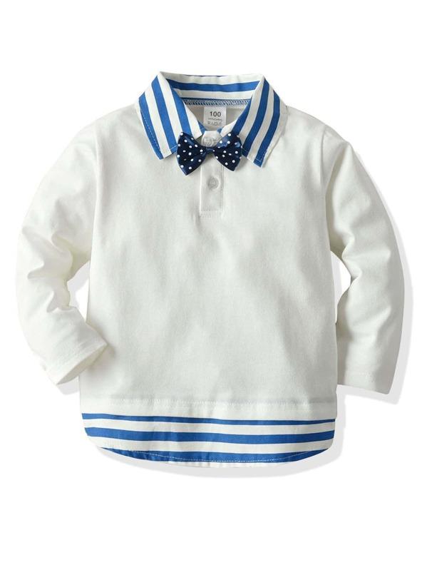 Toddler Boys Contrast Striped Collar Bow Tie Polo Shirt