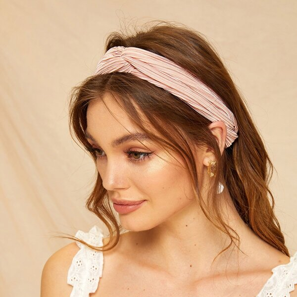 Pleated Twist Headband, Pink