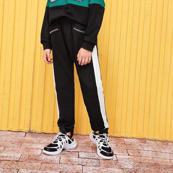 Boys Zip Up Contrast Sideseam Sweatpants