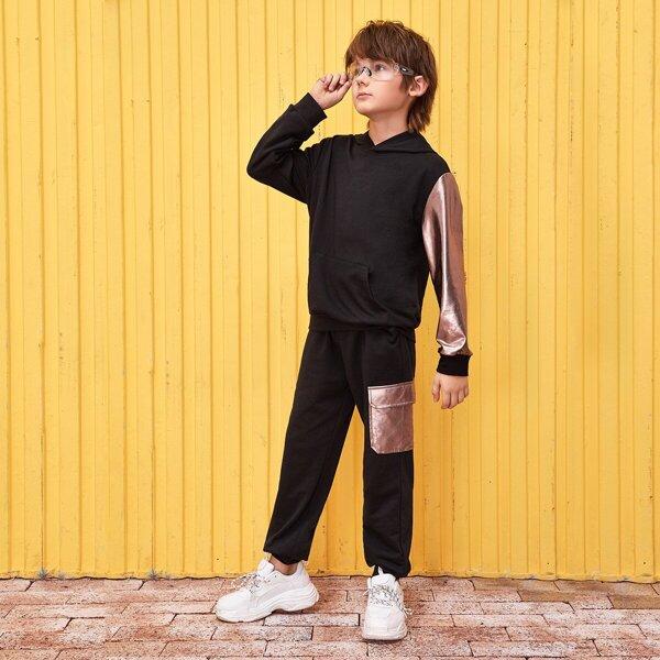 Boys Pocket Detail Metallic Sleeve Hoodie & Sweatpants Set