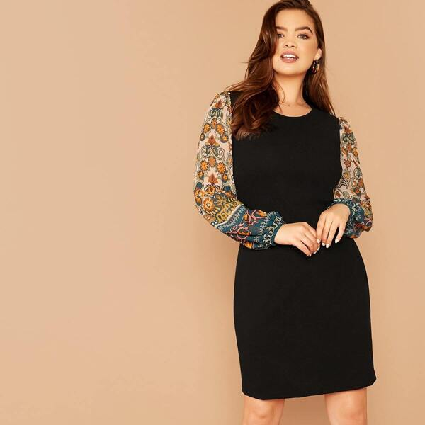 Plus Contrast Floral Print Sleeve Dress