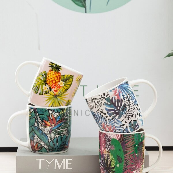 Tropical Plant Print Ceramic Cup 1pc