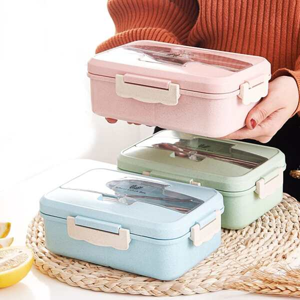 Wheat Straw Lunch Box With Spoon & Chopstick