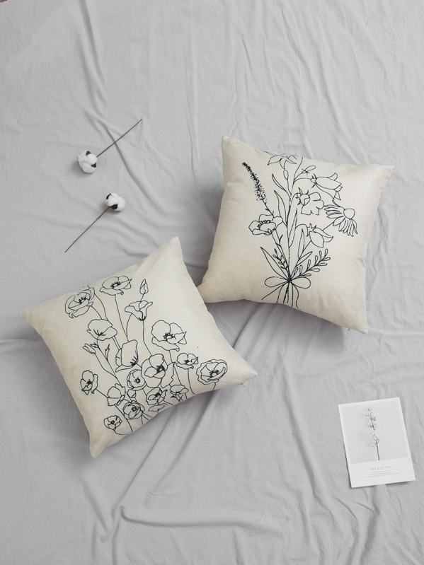 Stick Figure Floral Print Cushion Cover 1pc