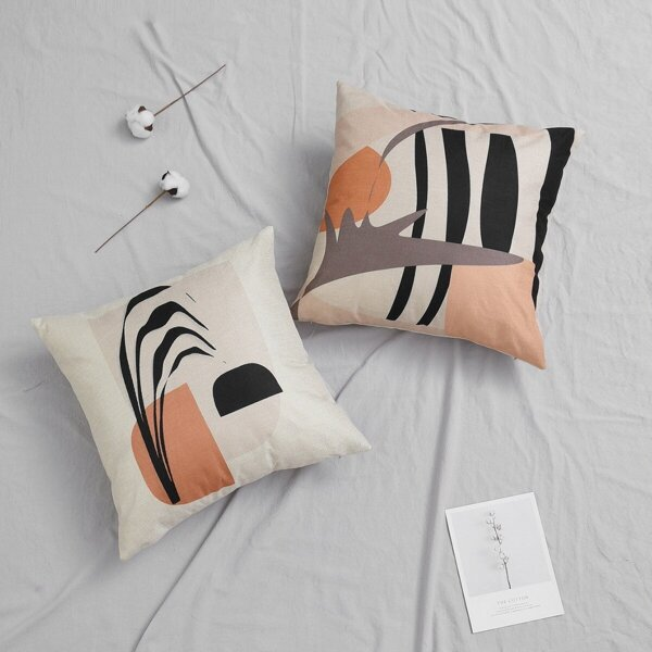 Abstract Graphic Print Cushion Cover 1pc