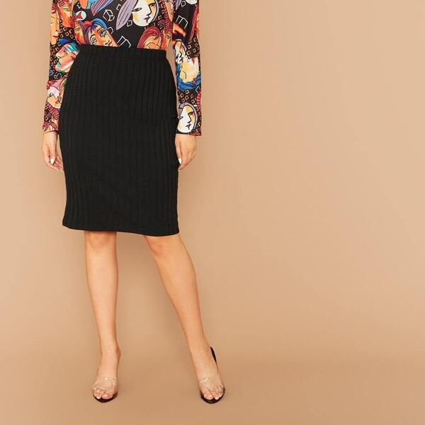 Plus Rib-knit Pencil Skirt Without Chain Belt