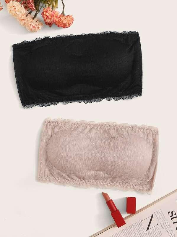 Lace Trim Bandeau Bra Set 2pack