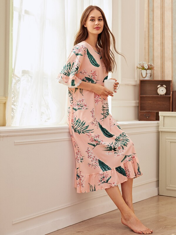 Floral Print Ruffle Hem Night Dress, Sonya