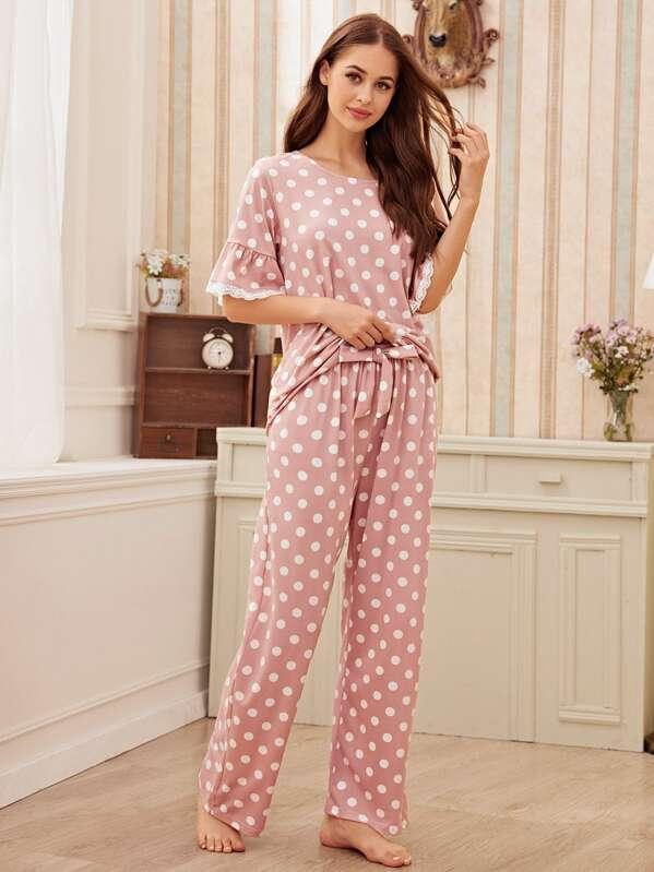 Polka Dot Lace Trim Pajama Set, Sonya