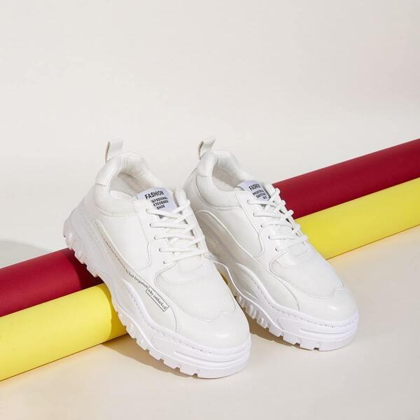 Men Slogan Print Chunky Sneakers