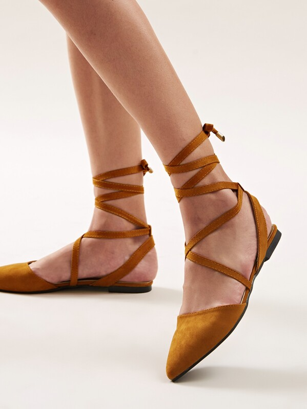 Point Toe Tie Leg Ballet Flats