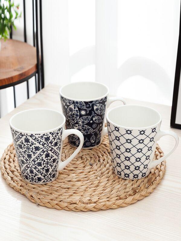 Geometric Print Ceramic Mug 1pc
