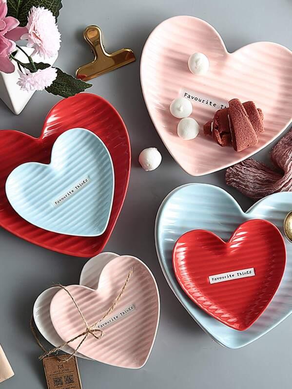 Heart Shaped Ceramic Plate 1pc