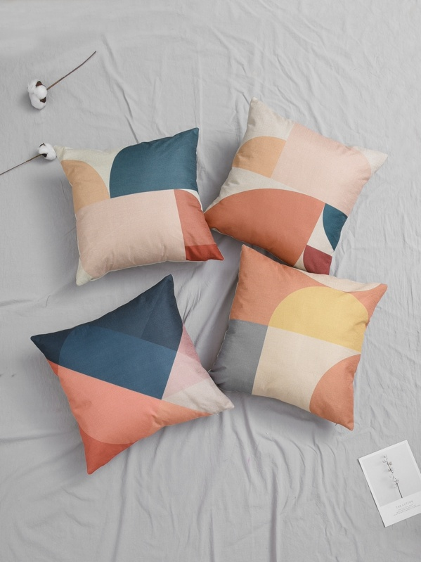 Color Block Cushion Cover 1pc