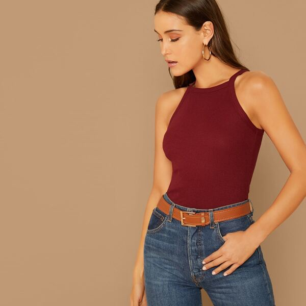 Solid Form Fitted Halter Top