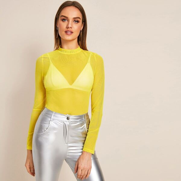 Neon Yellow Mock-Neck Mesh Top Without Bra