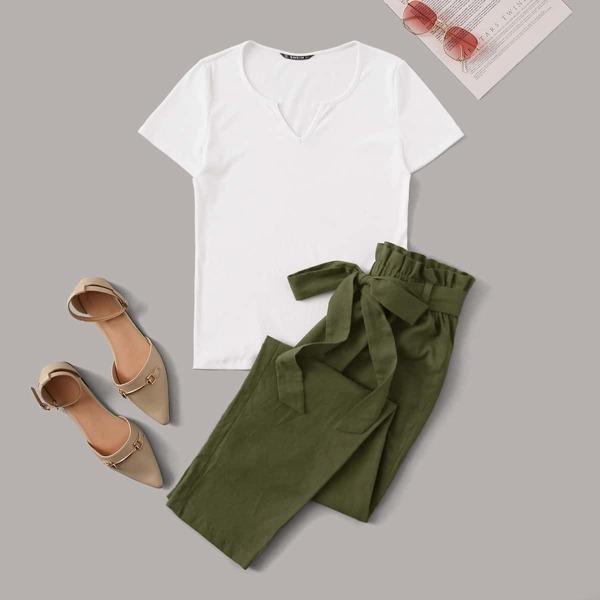 Notch Neck Rib-knit Top & Paperbag Waist Belted Pants Set