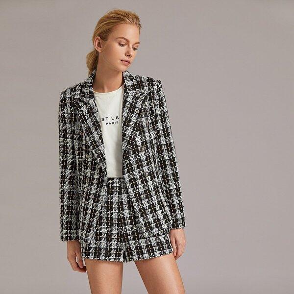 Double Breasted Tweed Blazer & Shorts Set