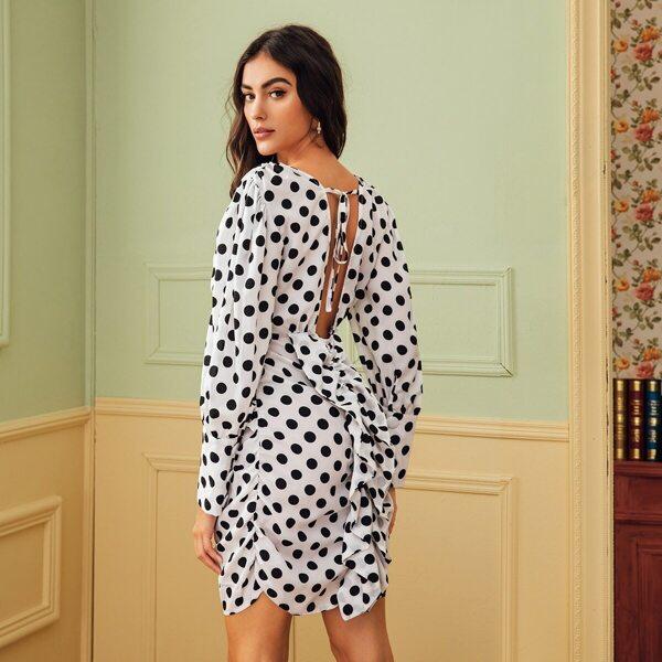 Polka Dot Print Ruched Ruffle Trim Tie Back Dress