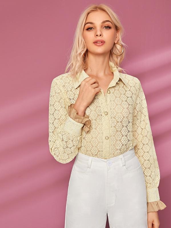 Button Through Flounce Sleeve Lace Blouse, Lef