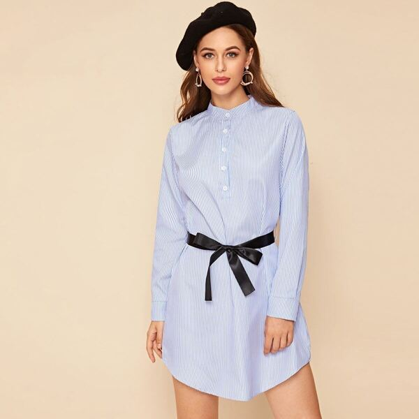 Striped Button Front Self Tie Shirt Dress