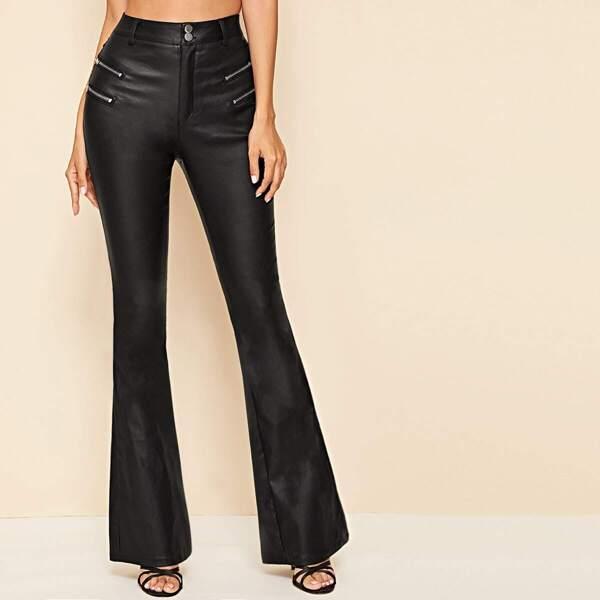 Coated Zip Detail Flare Leg Jeans, Black