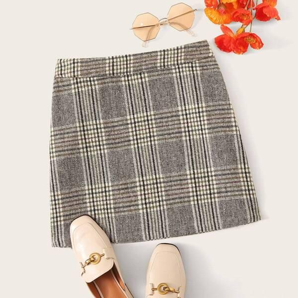 Zip Detail Plaid Skirt, Grey