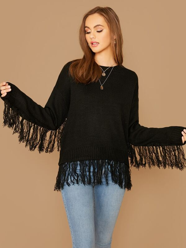 Fringe Trim Drop Shoulder Sweater, Black, Lily Easton