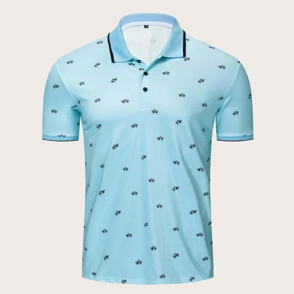 Men Random Coconut Trees Print Contrast Binding Polo Shirt, Blue