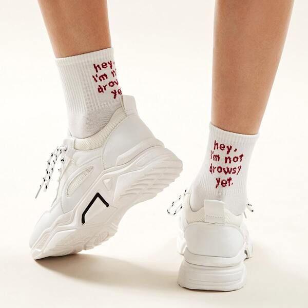 Slogan Pattern Socks 1pair, White